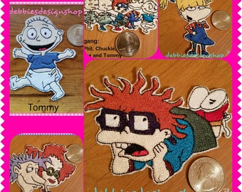 Rugrats Iron on Patches Set #1 - Chuckie, Angelica, Stu/Didi, Lil & Phil, Tommy