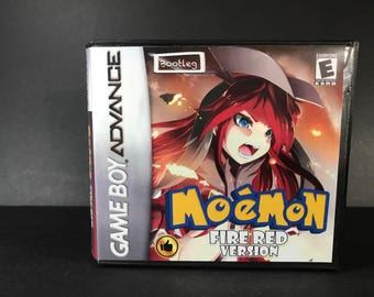 Pokemon Moemon Fire Red ROM Hack Fan Made Game Gameboy Advance GBA Custom Case