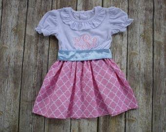 Girl Monogrammed Dress-Personalized Girl Dress-Girl Portrait Dress-Pink Dress-Girl Pink Dress-Girl Spring Dress-Girl Easter Dress