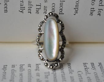 Vintage Sterling Marcasite Ring - 1970s Art Deco Style Sterling Ring