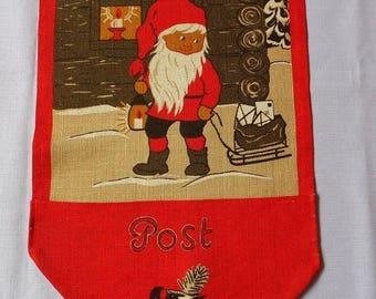 25% SUMMER SALE Vintage Christmas jute Envelope for letters to Santa Claus Post