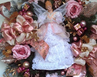 Christmas Wreath, Winter Wreath, Angel Wreath, Pink Wreath, XXL Holiday Wreath, Door Wreath, Luxury Wreath