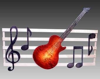 Musical Wall Hanging - Maple Guitar / Cherry Sunburst