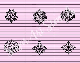 Damask cookie stencils set of 6 designs  Sl92