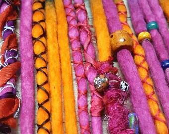 Wool Dreadlocks Custom Wool Dreads Handmade Hippie Dreads Hair Extensions Wool Dreads Ombre Hair Accessories Set of 14 Aloha