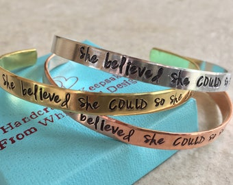 Sale!  She believed she COULD so she did personalized cuff bracelet pick your metal graduation congrats gift present personalized gift