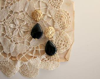 Gold plated brass earrings, black onyx gemstones | wedding jewel