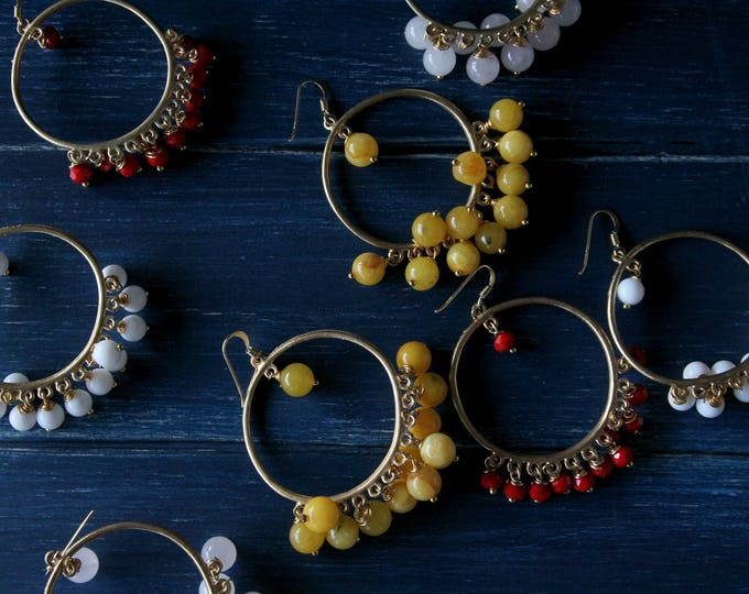 Circle earrings brass and gemstone jewelry