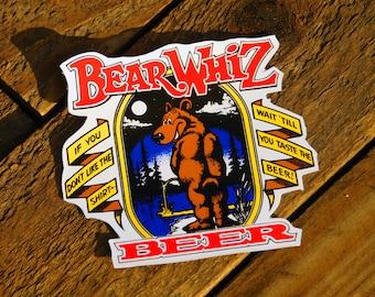 Vintage Bear Whiz Beer Sticker Decal