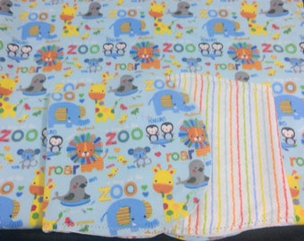 Lions, penguins with multi color Backing Hemstitched Baby Blanket and Burps ready for you to crochet by Lindas Hemstitching
