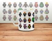 Avengers & Marvel Pixel Hero Coffee Mug, Marvel Fan Cup Gift,  Print, Tea, Ironman Present, Thor Gift, Minecraft, Mine Craft