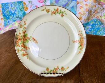 "Vintag salad plate, Taylor Smith, Orange Snowball Flowers, 8 1'4"""