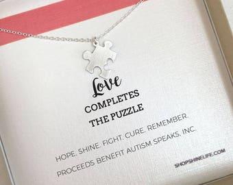 Autism Puzzle Necklace awareness love complete encouragement jewelry faith