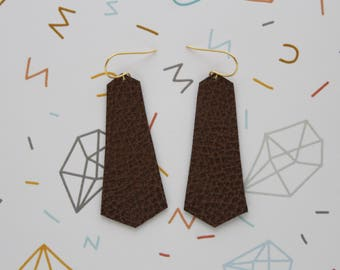 Brown faux leather dangly earrings