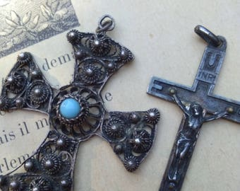 lot 2pcs French antique 19th century sterling silver  crucifix cross pendant filigree large cross  reliquary gothic religisous jewelry