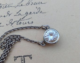 vintage stamped sterling silver signed  Diamond CZ necklace , round faceted pendant