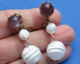 Vintage White & Purple Beaded Dangling Clip On Earrings Japan