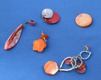 Lot Of Retro Dyed Orange Shell Pendants Dangles