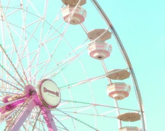 Ferris Wheel Print, carnival photo, mint Blue,ferris wheel photo, dreamy photography, carnival photography, Pastel, nursery wall art, canvas