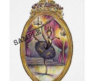 Swan Lake Ballet Bunnies Note card set C (4 card with envelope)