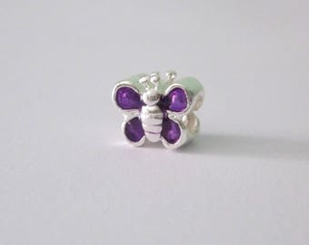 A Purple Butterfly bead, 1 cm, 925 silver plated.