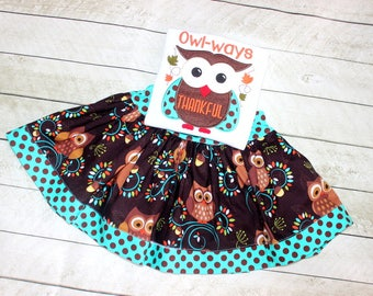 Girls Thanksgiving owl outfit. Toddler baby girl owl clothing. Fall skirt set for girls size 2t 3t 4t 5 6 8 10 skirt  brown teal polka dots