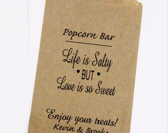 ON SALE Personalized Wedding Popcorn Bar Bags, Candy Buffet Bags, Rustic Wedding Favors
