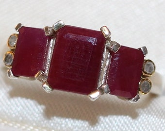 Beautiful Emerald Cut Ruby and Diamond RIng stamped 925 Silver
