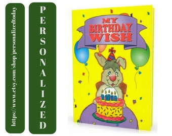Birthday Book My Birthday Wish Custom Name Personalized Children's Fiction Birthday Party Gift Bunny Rabbit Cake Balloons Story Ages 3 to 8
