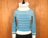 Vintage Sweaters: Cable Knit, Fair Isle Cardigans & Sweaters Vintage 70s Striped Sweater XS Blue White Stripes Retro sweater Turtleneck Ski Sweater Retro Sweater 1970s Clothing $36.00 AT vintagedancer.com