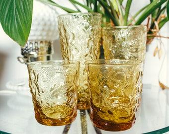 Set of 4 Vintage Crinkle Glasses