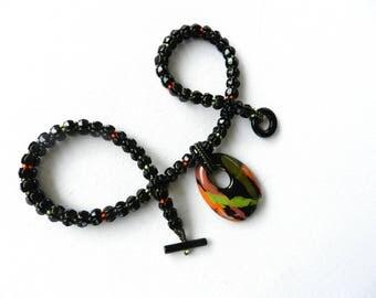 Elegant Statement Beaded Pendant Necklace Black Orange Green Artisan Ceramic Pendant Black Glass Beaded Rope by AlfaStudioArtistica
