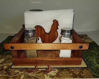 Wood Condiment Caddy Farmhouse Design Rooster Salt & Pepper Napkin Holder