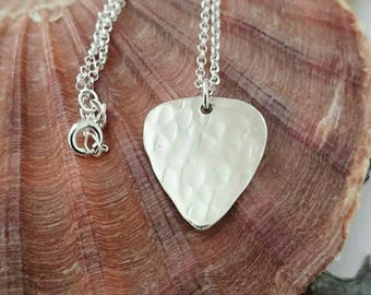 Silver Plectrum Necklace - Textured Hallmarked Pendant - Guitar Pick Pendant Jewellery - Music - Sterling Silver - Handmade Silver Jewellery