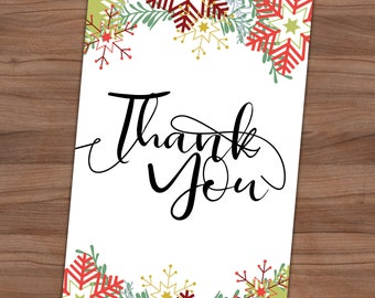 Christmas Thank You Card - Snowflake Thank You Note - Winter - Holiday Party - Baby Shower - Bridal - Printable - 4x6 - Instant Download