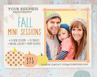 ON SALE Photography Marketing Board - Fall/Autumn Mini Sessions - Photoshop template - IW009 - Instant Download