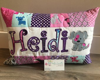 New fabric!  Puppy Pillow Case with name for girls, 12x18 inches