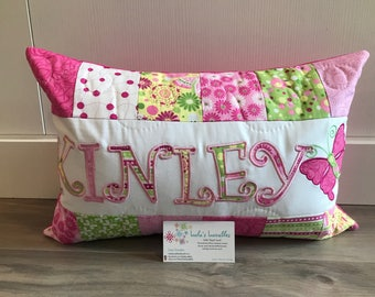 Pink, yellow and green personalized children's pillow case, MY ORIGINAL PILLOW! 12x18 inches