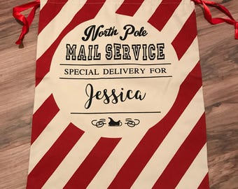 Red striped canvas personalized santa sack/Christmas gift wrap/family Christmas gift/holiday decor/custom gift