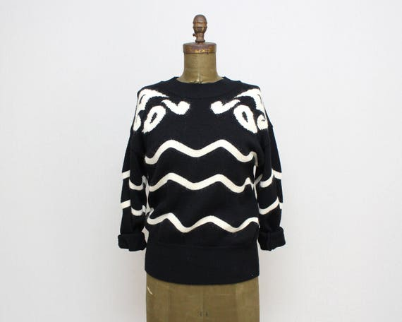 Vintage 1980s Escada Black and White Wool Sweater - Size Medium