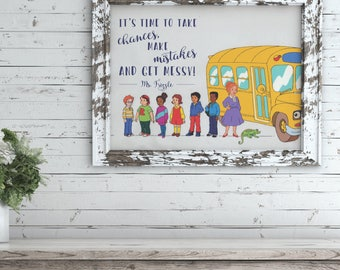 Magic School Bus Themed Teacher Print 5x7 - Gift for Teacher - Digital Download