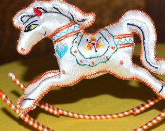 10 % OFF - Lovely Whimiscal Embriodered Rocking Horse Ornament