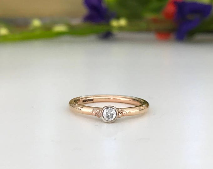 9ct Rose Gold 0.10ct dainty ring with bead detail