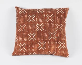 Geometric Rust Bogolan Mudcloth Pillow