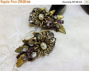 ON SALE Vintage Miriam Haskell Baroque Pearl and Rhinestone Floral Earrings