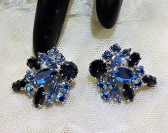 Beautiful Vintage Shades Blue and AB Rhinestone Earrings