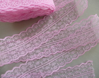 Lace trim ribbon. Pink doubled-edged lace.     44mm wide.  Haberdashery, millinery, craft projects, sewing supplies, wedding supplies