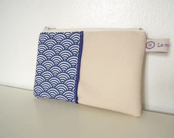 "Pouch "" Ecru faux leather, blue waves japanese and blue piping """