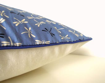 "Cushion cover "" Japanese dragonflies blue back, ecru glittery linen and blue piping """