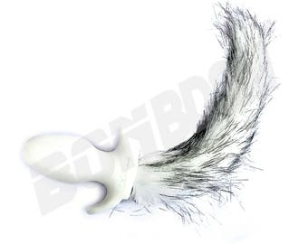 White Dog Tail B**t Plug with long white and Gray Faux Fur, A**l Plug Puppy Tail with Fur, Premium Silicone B**t Plug